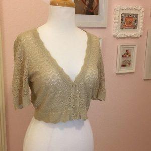 Metallic gold cropped cardigan, sparkly!